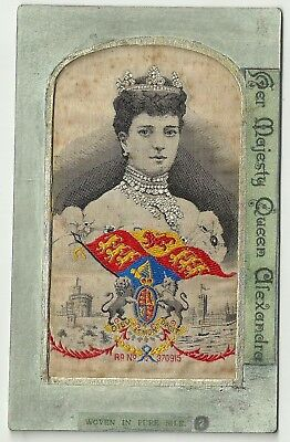 Embroidered Silk postcard Royalty HM Queen Alexandra