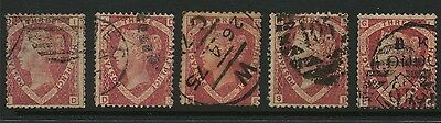 5 Queen Victoria QV stamps, used three halfpence SG 51/52 1870 (1)