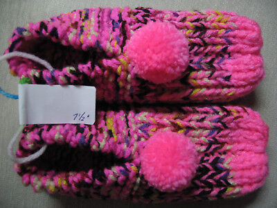 New Amish Handmade Knit House Bootie Pink Multi Child/Teen Slipper Length 7 1/2""