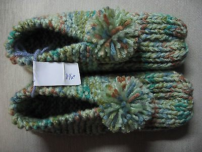 New Handmade Knit Slippers Honeydew Green Mix Womans Sm/Med Mans X Sm 8 1/2""