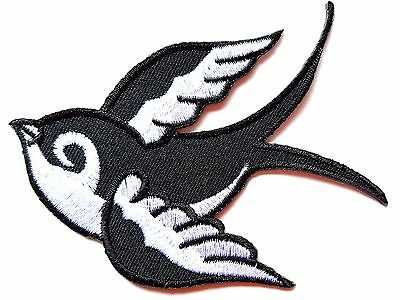 Ecusson Iron-on embroidered Patch Swallow left, rock 'n' roll, tattoo
