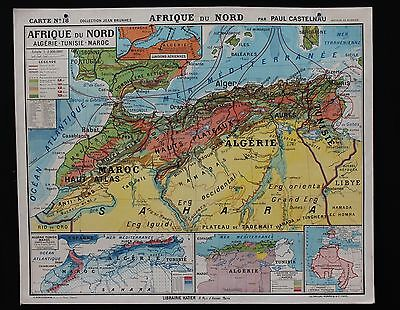 "Famous French antique original map North Africa Tunisia Morocco 47*39"" poster"