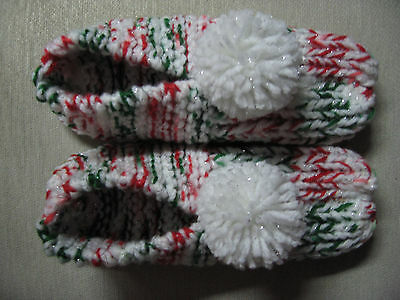 Handmade Christmas Red/Green/White Sparkle Slippers Womans Sm Mans X Sm 8 1/4""