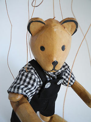Vintage BEAR Marionette / Teddy Puppet Toy - Carved Wood 13'' Clothing String