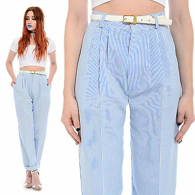 Vtg 80s Pleated STRIPED Tapered-Leg Pants Preppy Nautical High-Waist Trousers M