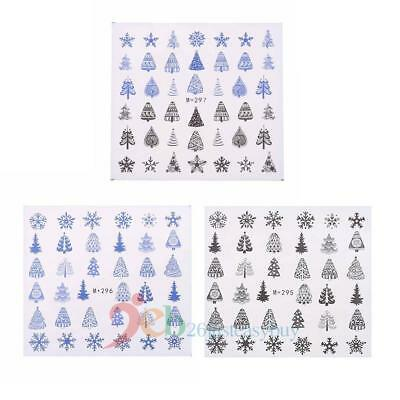 Christmas 3D Nail Art Tips DIY Stickers Water Transfer Tree Decals Decor 5 Sheet
