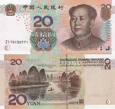 China 20 Yuan (2005) - Mao/River Scene/p905 UNC