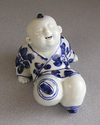 Chinese Vintage Laughing Happy Boy Blue and White Porcelain Figurine  Marked