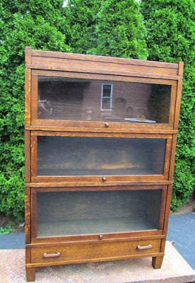 Antique Oak 3 Section Barrister Bookcase Mission Style Drawer Base Quartersawn