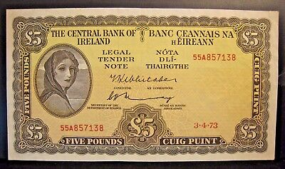 1973 Ireland, Central Bank of, 5 Pounds Lightly Circulated * FREE U.S SHIPPING**