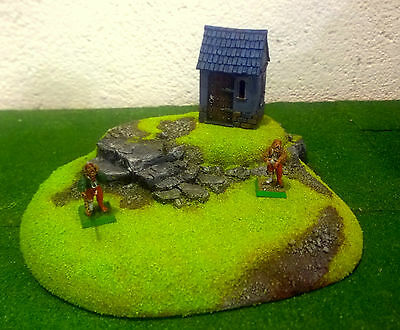war game SCENERY HILLS WITH WALL, BARRICADES AND ROCK FLOCK PRO PAINT WARHAMMER