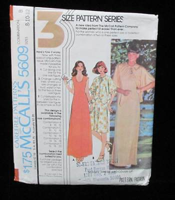 Dress & Cover Up Sewing Pattern Size 8 10 12 Misses Vintage # 5609 McCalls