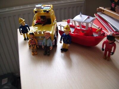 Fireman Sam Bundle, Boat, Rescue Vechicle with Sounds & Words + 5 Figures