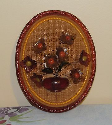 Vtg Mid Century Lucite Kitschy Wall Plaque Vase With Flowers Very Cool!