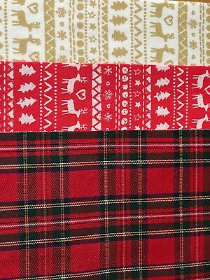 Cotton Fabric Back Felt Sheet A4 Red Tartan Christmas Bow Maker Glitter Die Cut