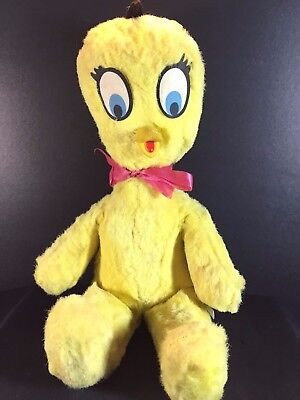 Vintage Looney Tunes TWEETY BIRD Plush Warner Bros - 1970 Rare 15""