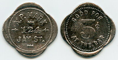 UNLISTED A. P. MARX 5c SALOON TOKEN SCHENECTADY, SCHENECTADY CO., NEW YORK, NY