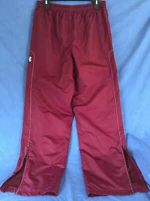 Under Armour Sweat Pant Nylon Maroon White Workout Sports Track Boys Teen NWOT