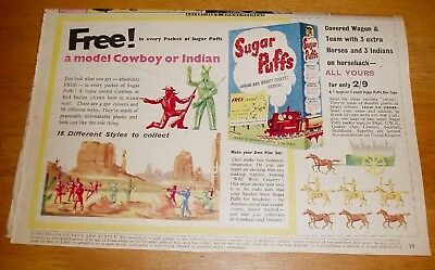 Cowboys & Indians  Free In  Sugar Puffs  Stunning Colour  Picture  Advert 1957