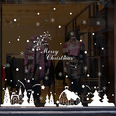 Christmas Shop Store Window Decoration Wall Stickers Decals Home Decor Tools Kit
