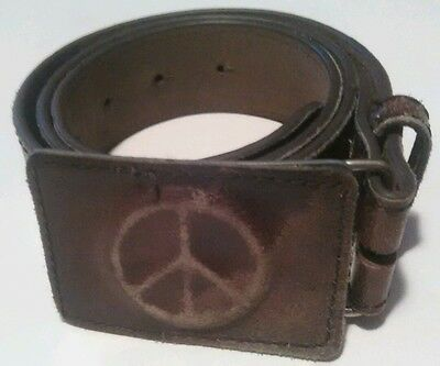 Vintage Women's Classico Leather Belt Peace Sign Buckle Made Italy Size 30-32""