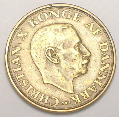 1946 Denmark Danish One 1 Krone Christian X WWII Era Grain Coin VF+