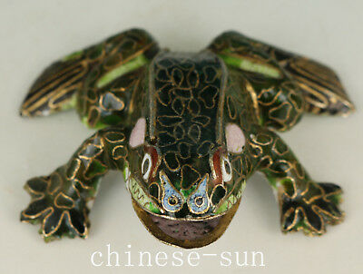 Chinese Copper Cloisonne Hand Frog Statue Home Decoration