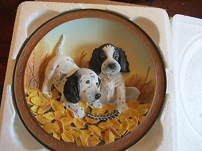 Bradford Exchange fowl play  cute puppies  3D plate   FREE SHIPPING