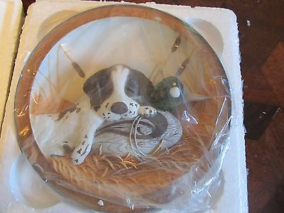 Bradford Exchange Sleeping On The Job Cute Puppy & Duck 3D plate   FREE SHIPPING
