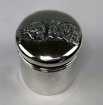 Victorian English Sterling Silver Round Box w/ 3 Cherubs on Lid