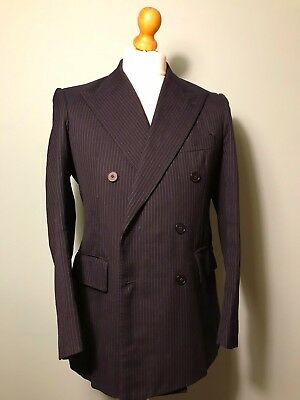 Bespoke chalk stripe double breasted city suit size 40