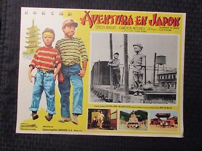 1957 ESCAPADE IN JAPAN Foreign 16x12 Lobby Card VG/FN LOT of 2 Teresa Wright