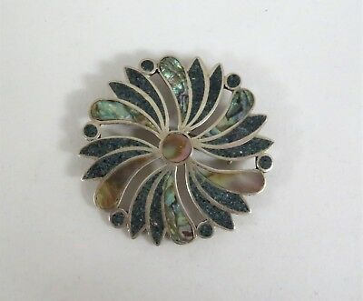 Mexico Sterling Silver Abalone Inlay Pendant/Brooch ~ Signed MMB