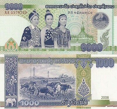 Laos 1000 Kip (2008) - Women/Temple/p39 UNC