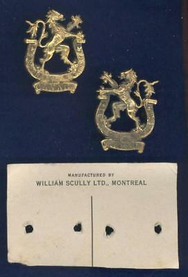 Veteran's Guard of Canada-OFFICER-PAIR of collar badges-SCULLY on original card