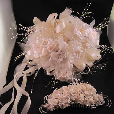 Lovely Vintage Wedding Bouquet & Comb Hairpiece Hair Piece Veil Comb