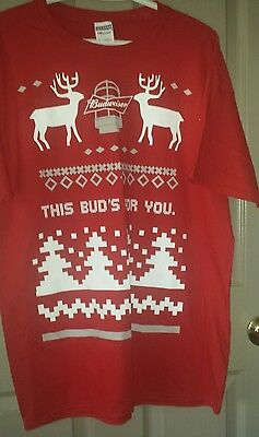 BUDWEISER Holiday BEER T-shirt large Christmas