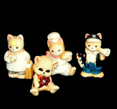 Vintage group of 4 teddy bear ornament figurines