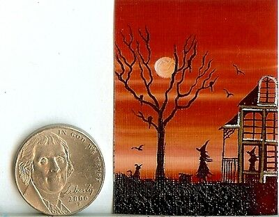 PRINT 2x1.5 Inch GLOSSY Halloween Haunted House Dollhouse PRINT 1:12 Scale HYMES