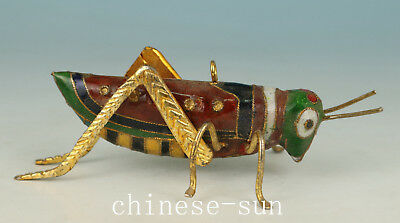 Lovely Chinese Old Cloisonne Handmade Painting Locusts Collect Statue Figure Dec