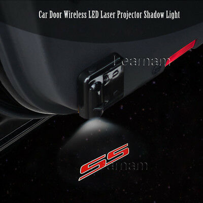 2x Car Door Wireless LED Laser Projector Ghost Shadow Light For Chevy Camoro SS
