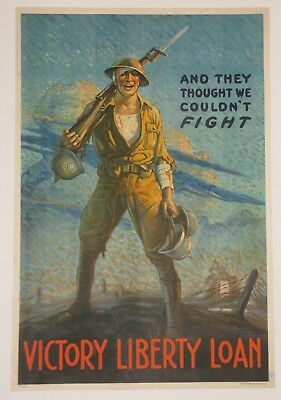 Original Liberty Loan bond poster on linen First World War I WW1 1918 Forsythe