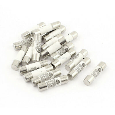 20 Pcs RO15 ( RT18 RT14 ) Ceramic Cylindrical Tube Fuse 20Amp 380 Volts 10x38mm