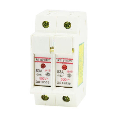 RT18-63 AC 380V 63A DIN Rail Mount 51mmx14mm 2P 2 Poles Fuse Holder 51mm  x 14mm