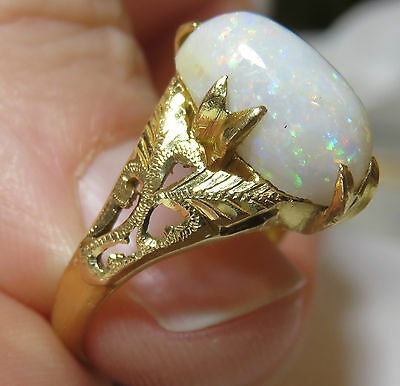 22K Solid Gold Antique Chinese Huge Genuine Opal Vintage Art Deco Floral Ring