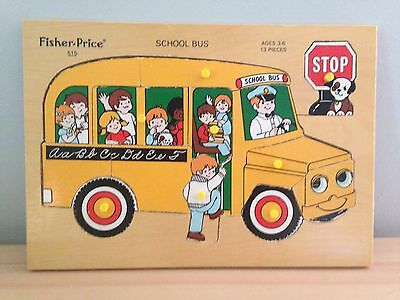 Fisher Price Vintage Wooden Puzzle School Bus Made In Holland 515