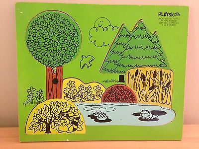 Playskool Vintage Wooden Puzzle Forest Beaver Raccoon Skunk Frog Bear Trees USA