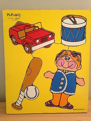Playskool Vintage Wooden Puzzle Jeep Drum Doll Baseball Made In U.S.A