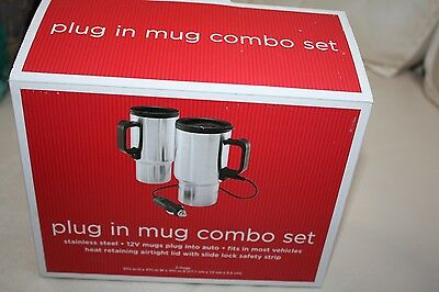 NEW in box Pair of 2 portable plug-in type stainless steel 12v 10oz coffee mugs