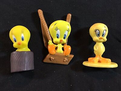 Vintage Looney Tunes TWEETY BIRD PVC Toy Lot 3 - Arbys Pocketable Warner Bros